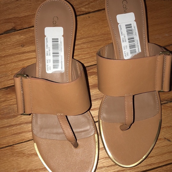 6378bc6176f Calvin Klein sandals NWT tan and gold NWT size 8.5